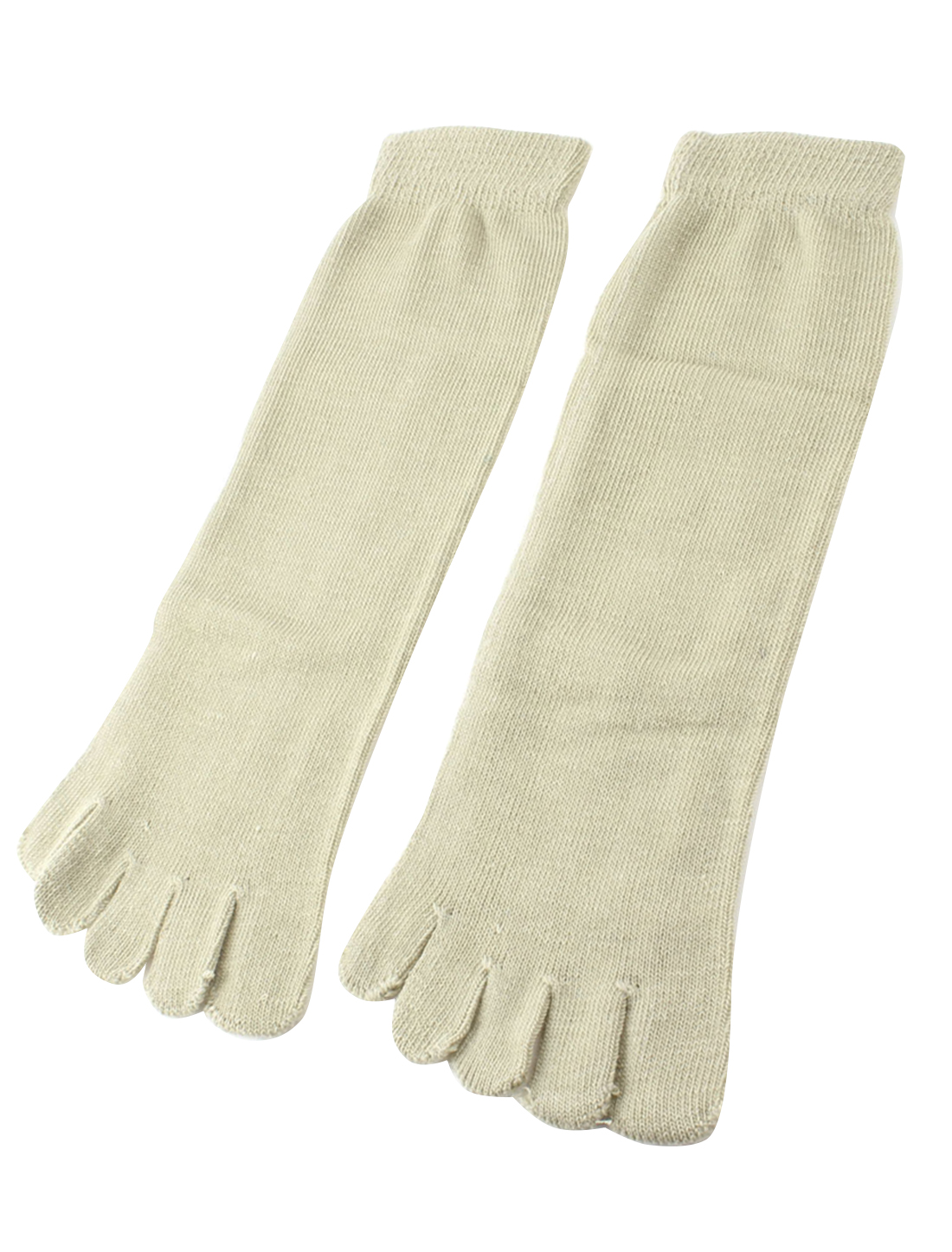 Unisex Autumn Ankle High Length Elastic Five Fingers Feet Toe Socks Khaki Pair
