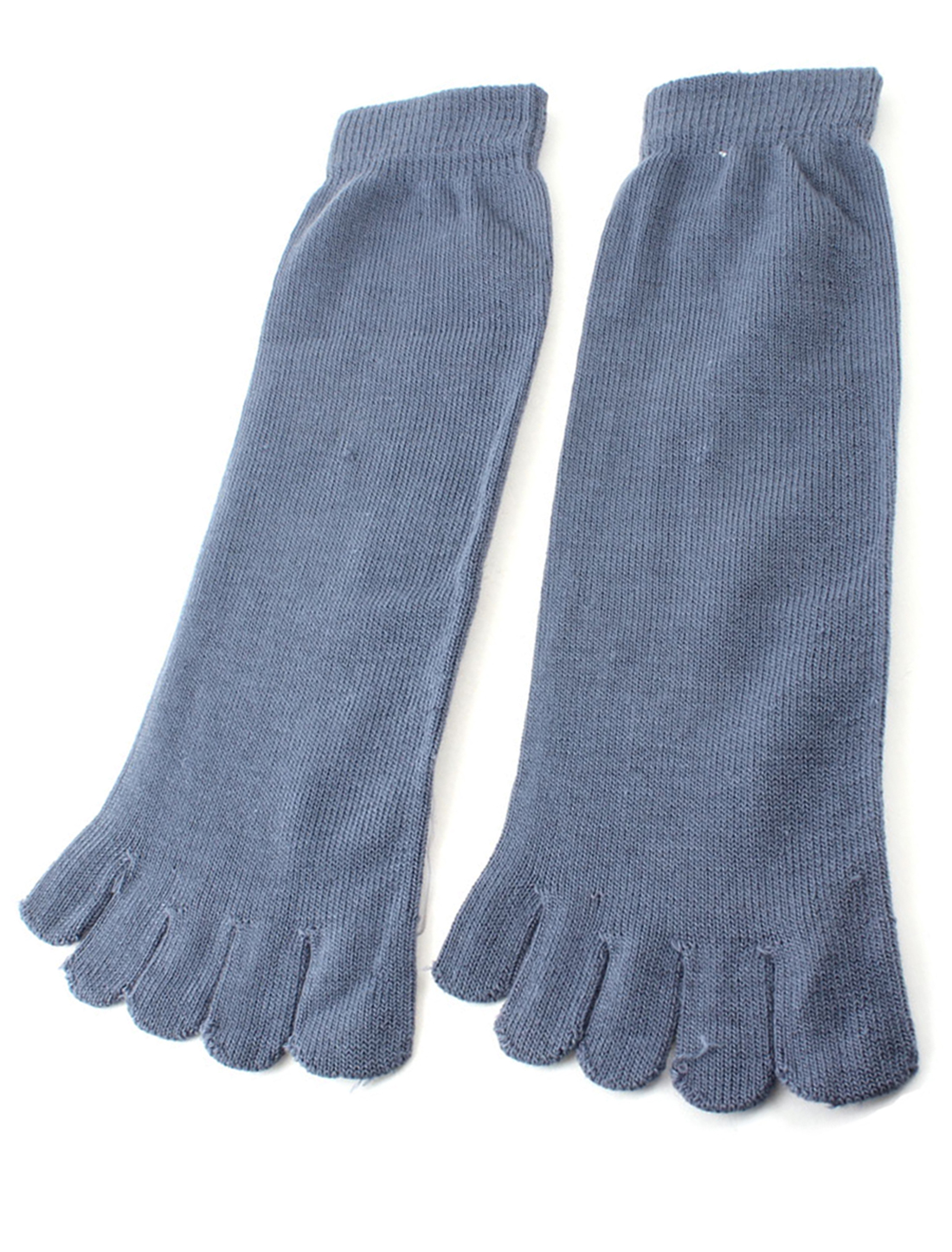 Woman Man Steel Blue Sport Stretchy Five Fingers Feet Toe Socks Pair