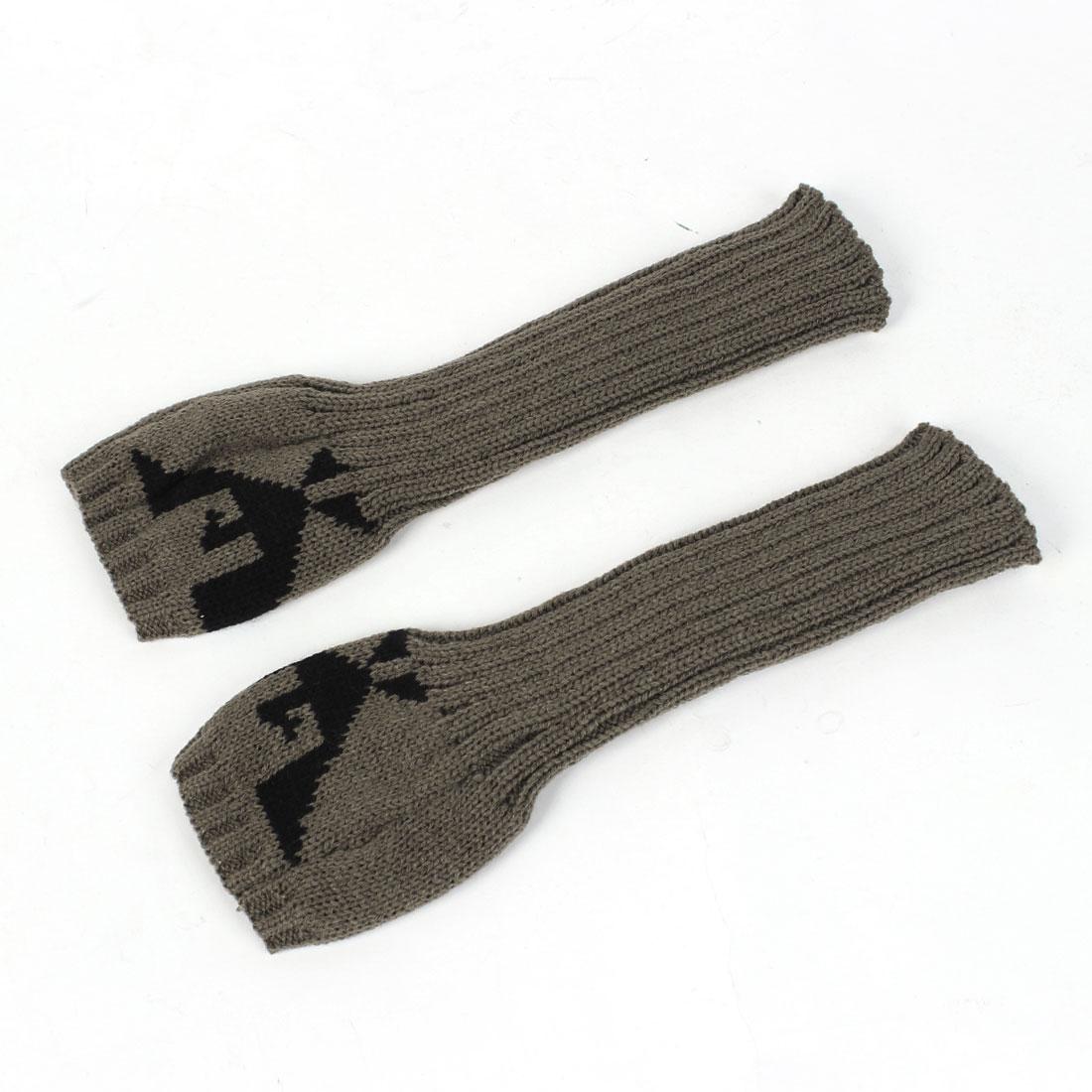 Ladies Eagle Pattern Elbow Length Knitted Long Fingerless Gloves Dark Khaki Pair