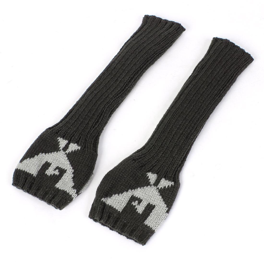 Ladies Eagle Pattern Elbow Length Knitted Long Fingerless Gloves Dark Gray Pair