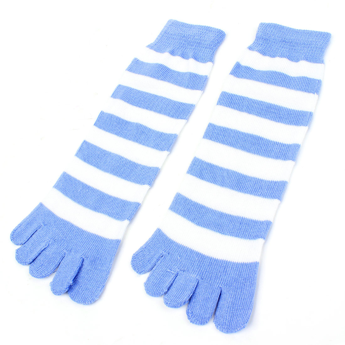Woman Light Blue Acrylic Five Fingers Stretchy Feet Toe Socks Pair