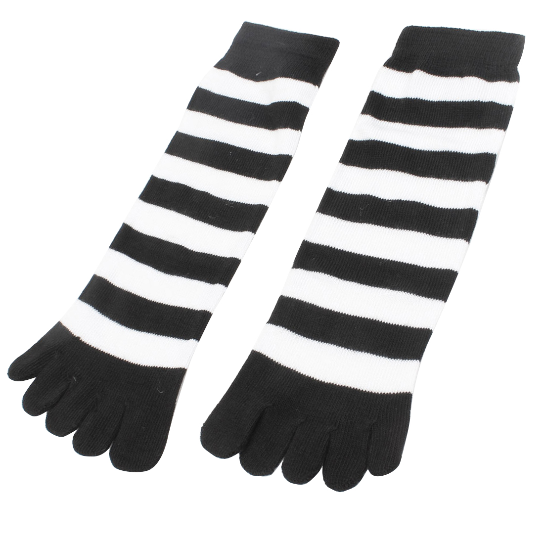 Woman Winter Five Fingers Stretchy Feet Toe Socks Black White Pair