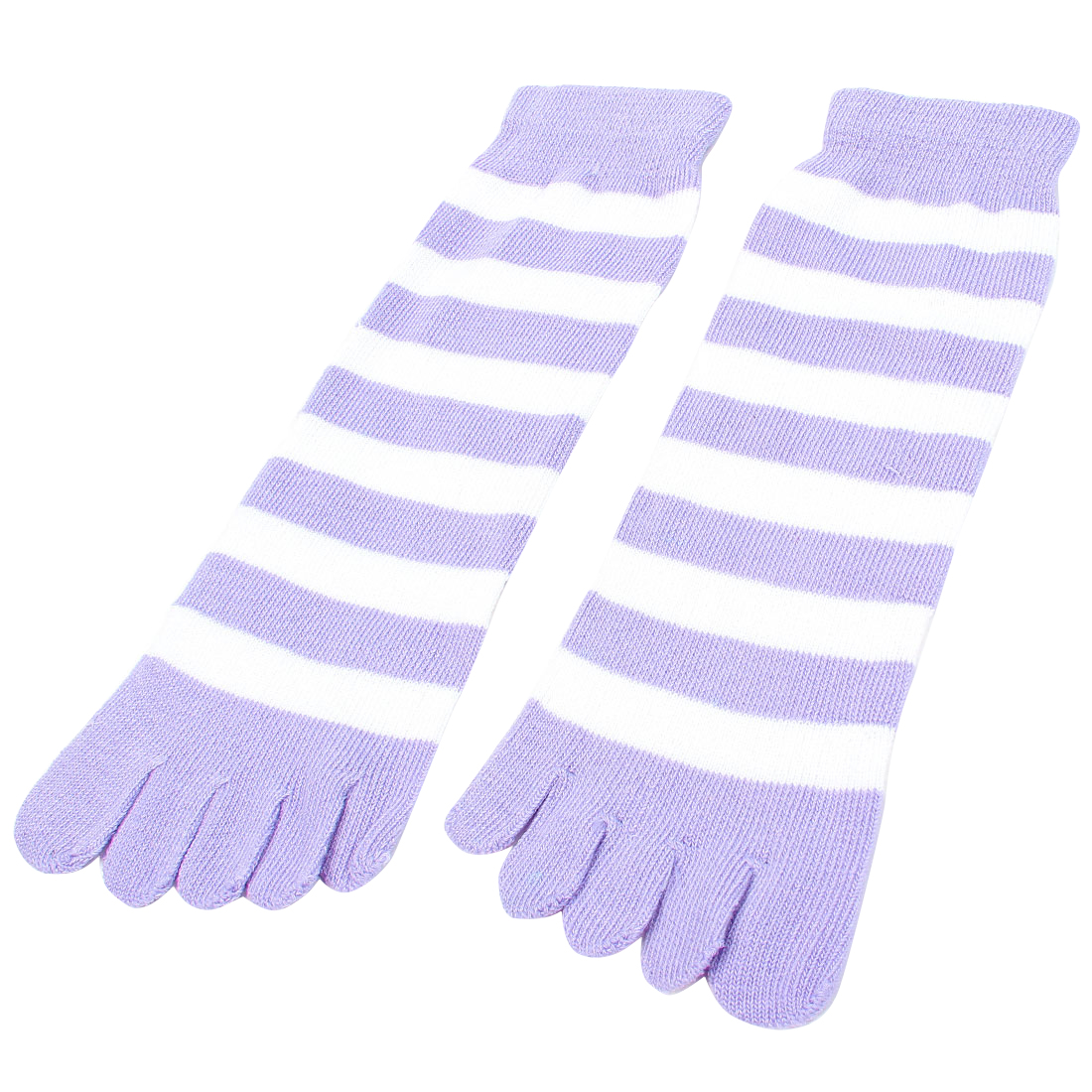 Lady Light Purple White Stripes Pattern Funny Five Fingers Feet Toe Socks Pair