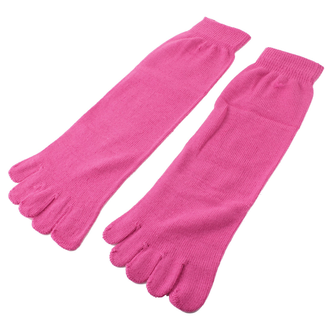 Unisex Outdoor Ankle High Length Five Fingers Feet Toe Socks Magenta Pair