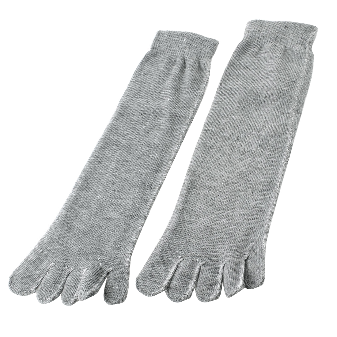 Unisex Autumn Ankle High Length Elastic Five Fingers Feet Toe Socks Gray Pair
