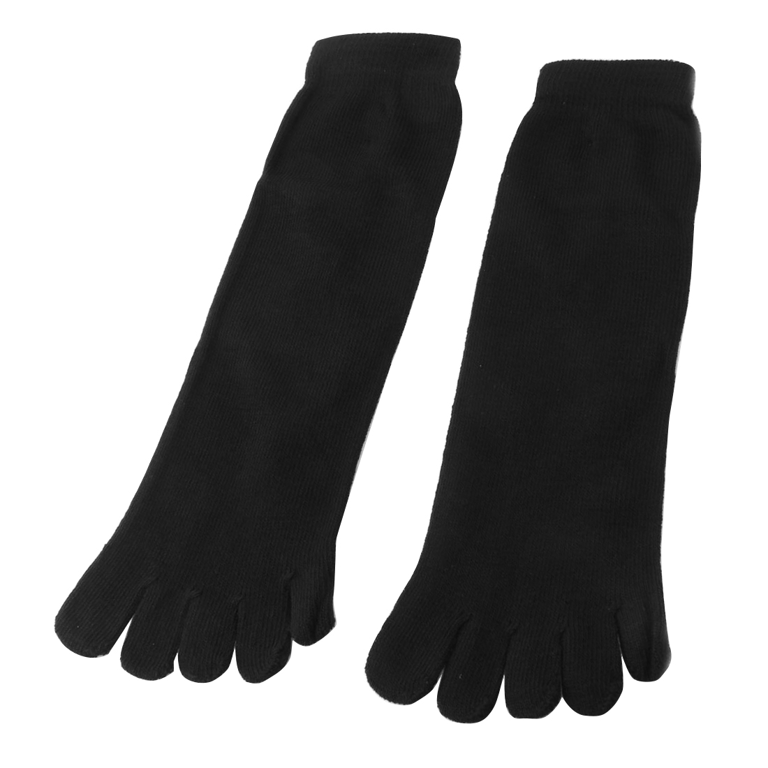 Black Cotton Blends Stretch Five Fingers Feet Toe Socks Pair for Man Woman