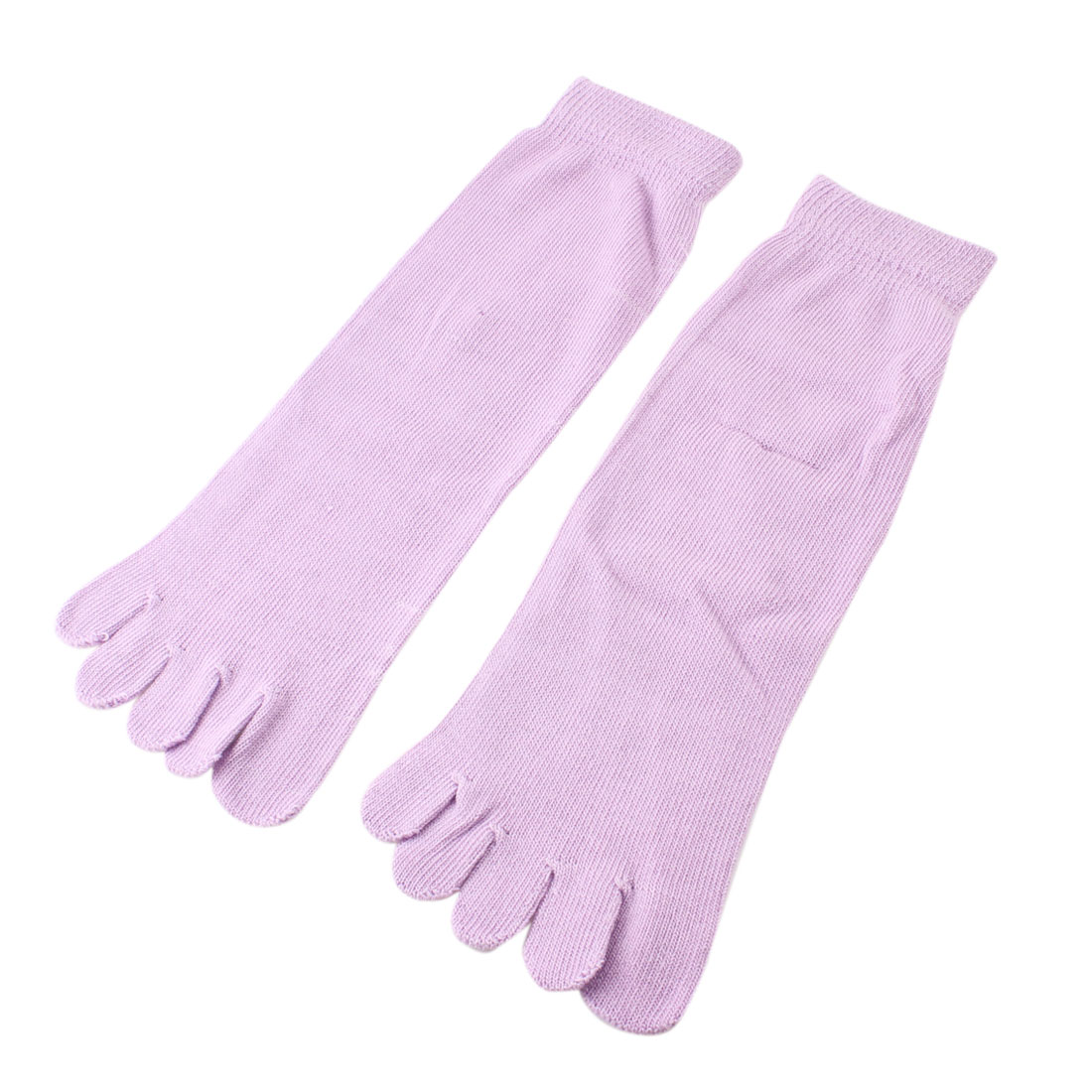 Winter Pale Purple Five Separte Fingers Casual Toe Socks Pair for Ladies Men