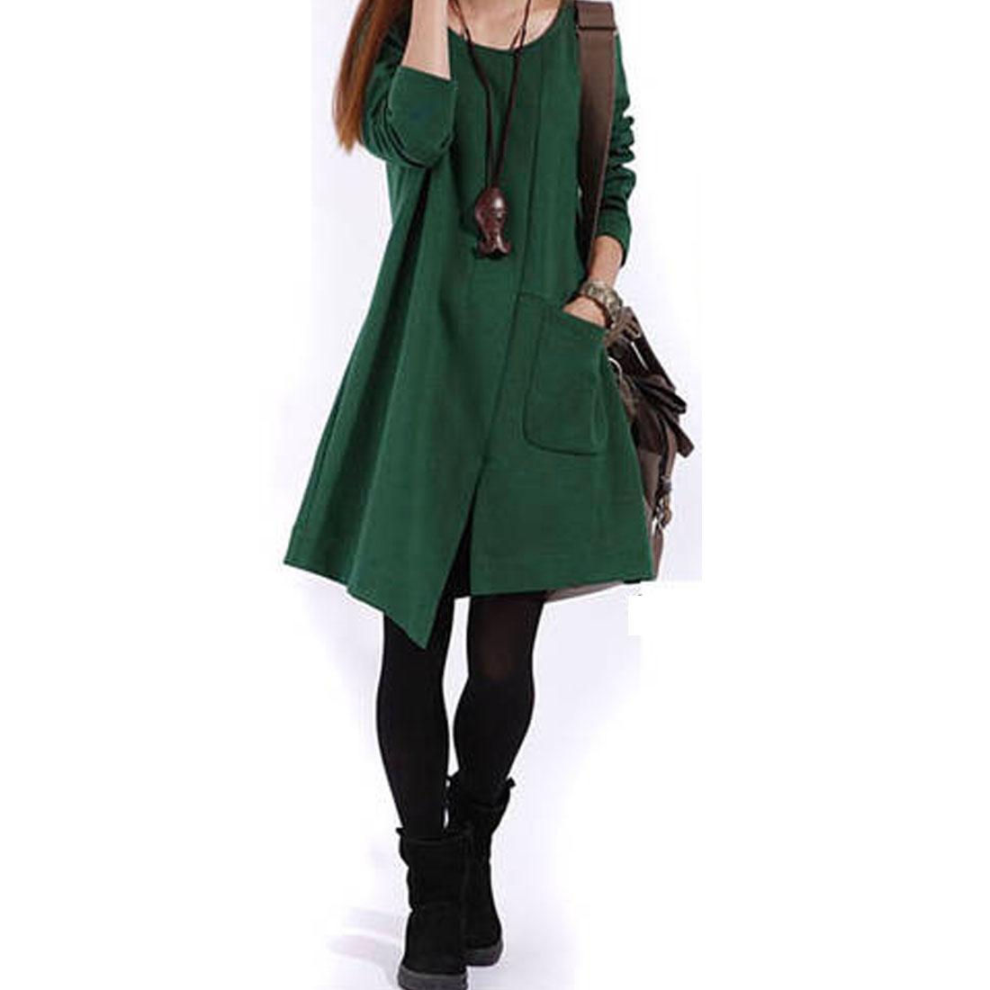 Ladies Korea Style Long Sleeve Solid Dark Green Loose Dress M