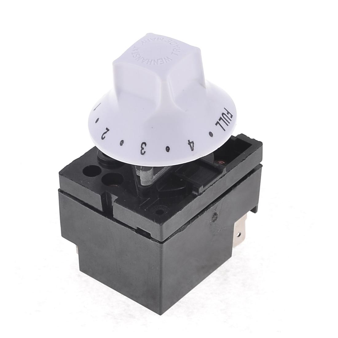 WZA-SJ(6202) Black White Plastic Housing Adjustable Thermostat Switch AC250V