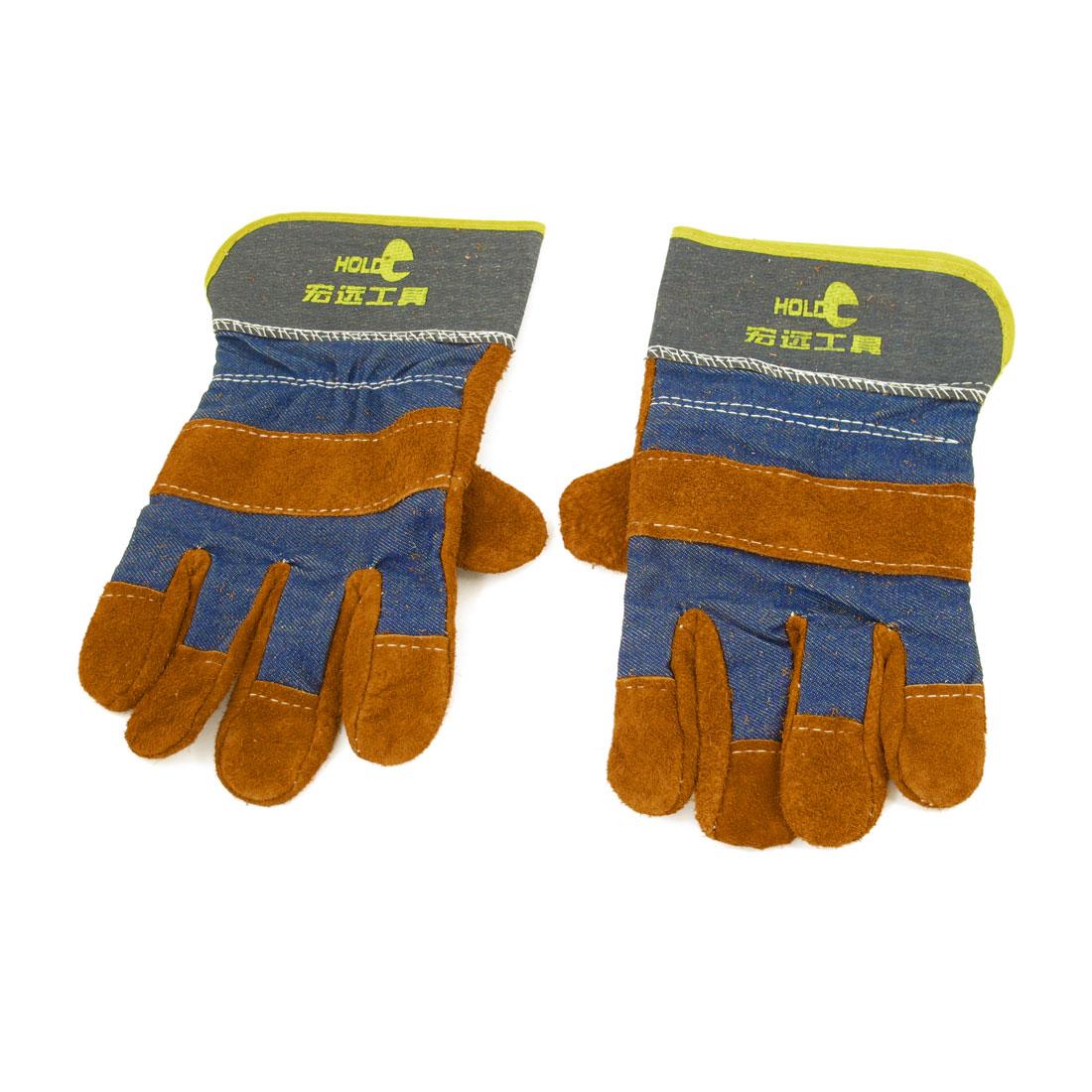 """Pair Full Finger Faux Suede Denim Welding Gloves Brown Dark Blue 10.4"""""""