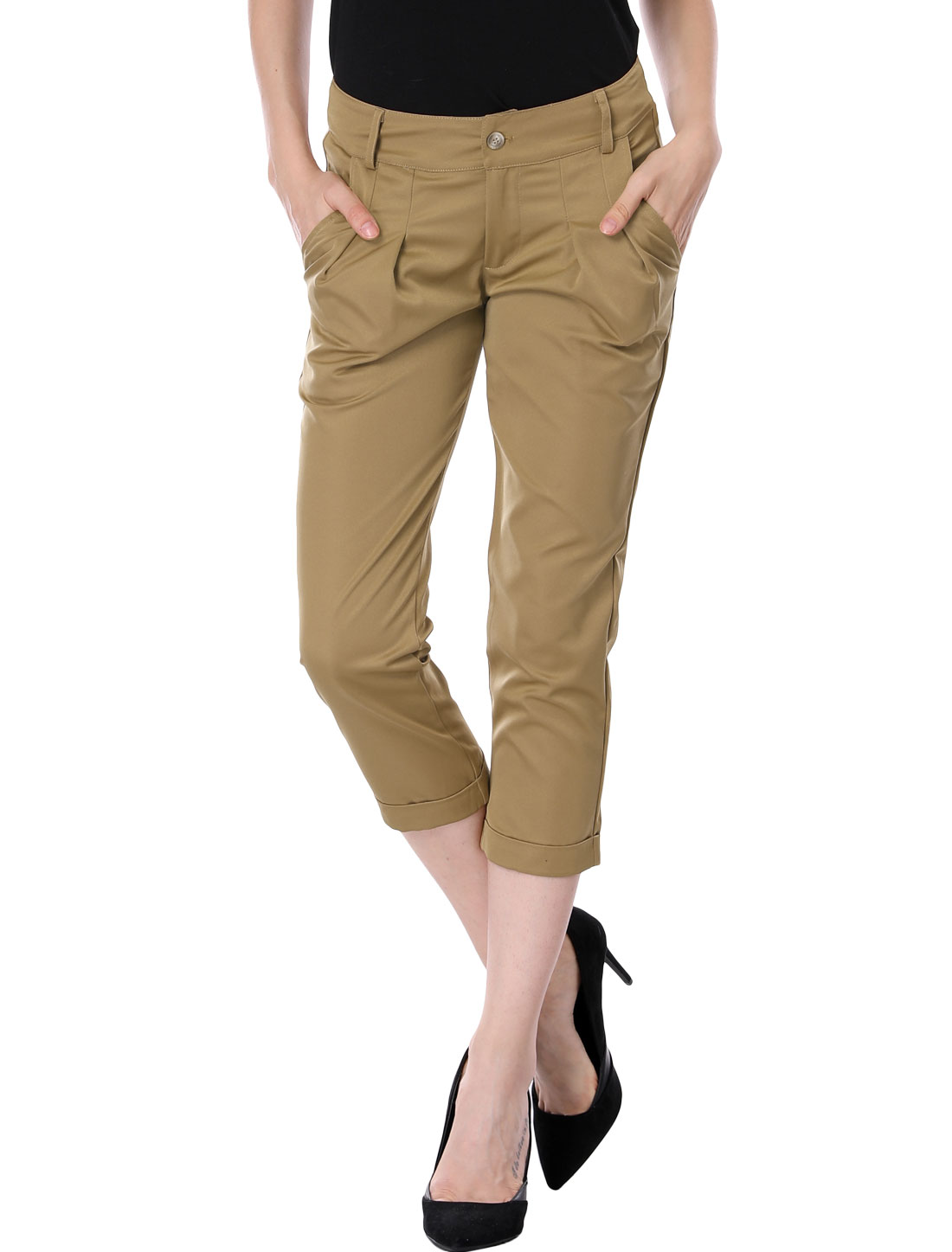Ladies Pure Khaki Color Slant Pockets Side Cropped Pants L