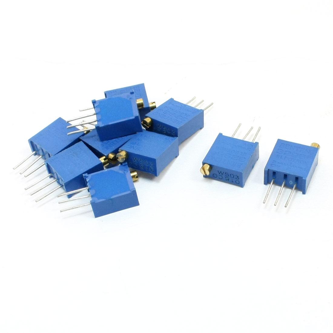 50K Ohm 3296W-503 Top Adjustment Linear Cermet Potentiometer 10 Pcs