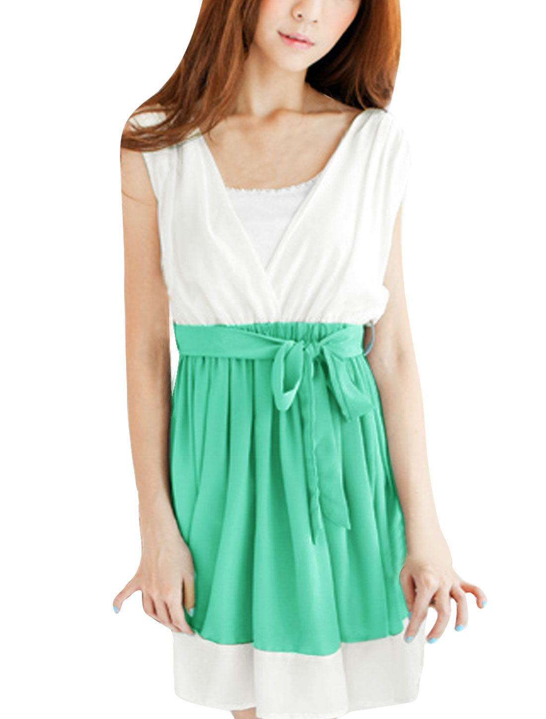 Chic Deep V Neck Sleeveless Green White A-Line Dress L w Tube Top for Lady