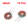 Green Red Coil Wired 10mm Outer Dia Toroid Core Inductor 220uH
