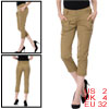 Woman Chic Khaki Color Zipper Fly Belt Loop Cropped Pants XS