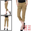 Ladies Pure Khaki Color Slant Pockets Side Cropped Pants L