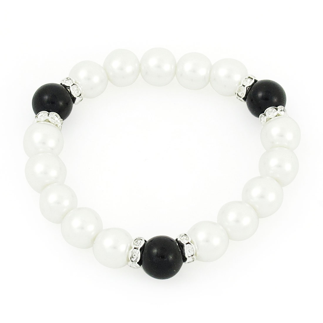 "Faux Black Agate White Imitation Pearls Beaded Stretchy Bracelets 7.1"" for Ladies"