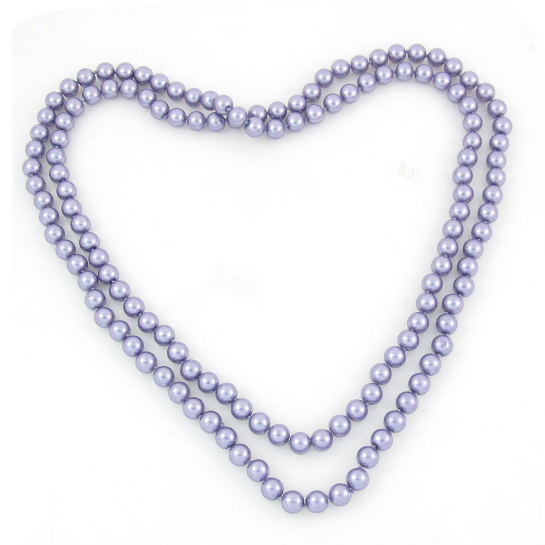 Woman Purple Imitation Pearls Round Beads Match Sweater Necklace 4.9ft Long