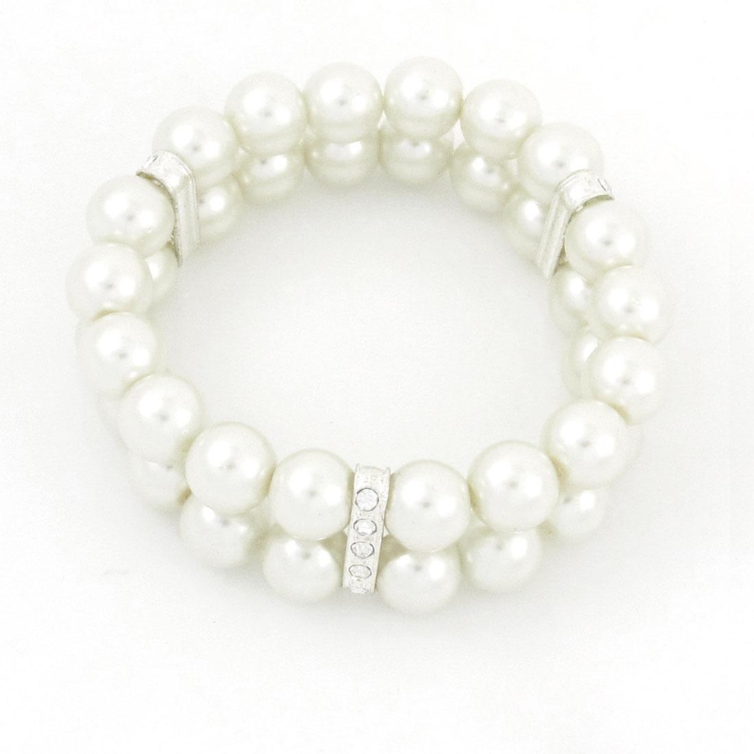 "0.4"" Dia White Double Row Imitation Pearls Bracelet Bangle Wrist Ornament"
