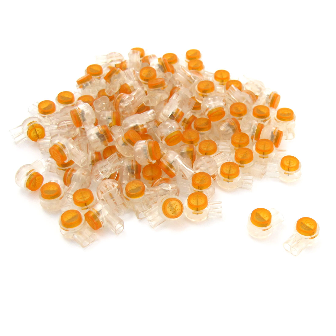 100 Pieces Air Tight Orange Clear Button Cable UY Butt Splice Connectors