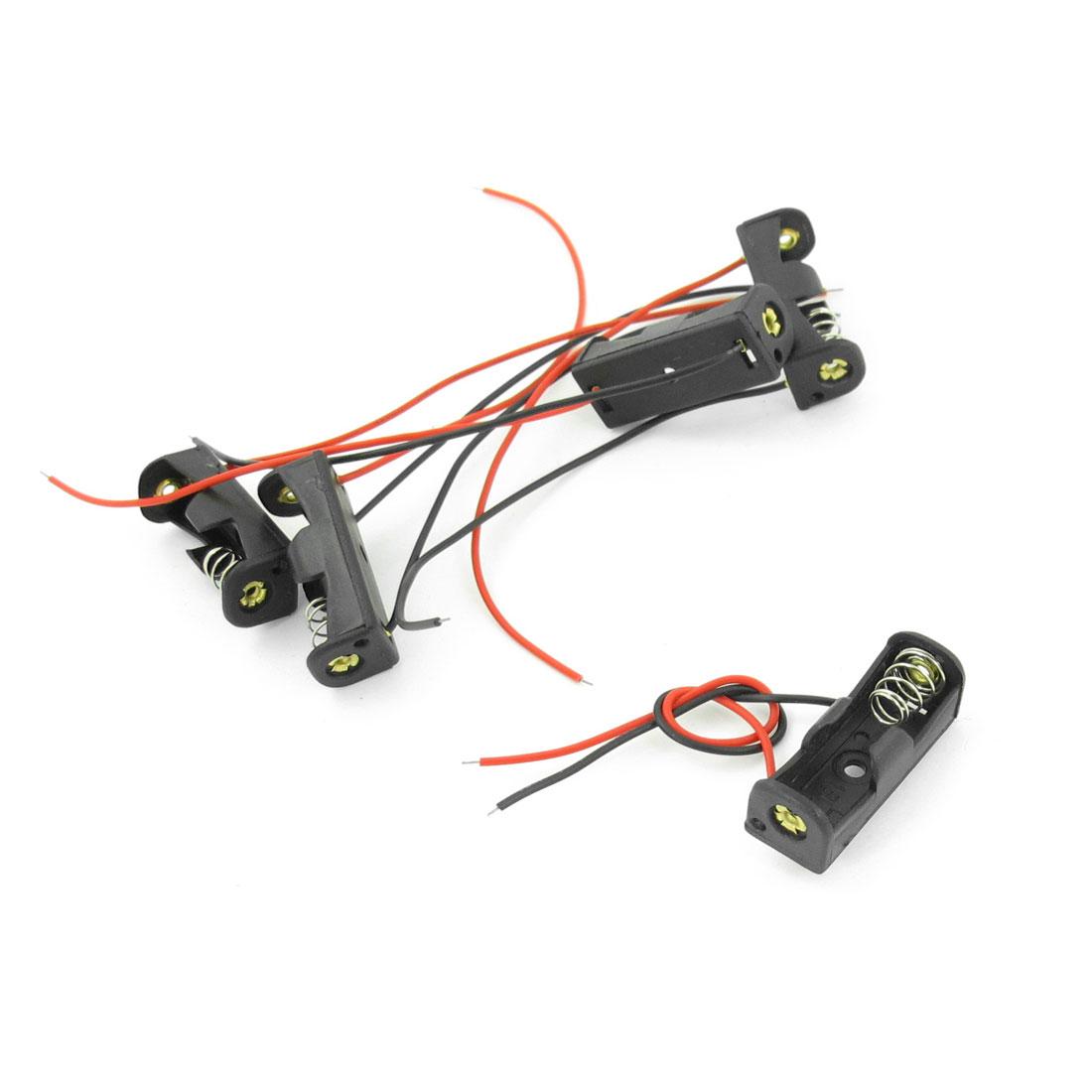 "5pcs 4.3"" Wire Leads Black Battery Storage Case Slot Holder 1 x 12V 23A"