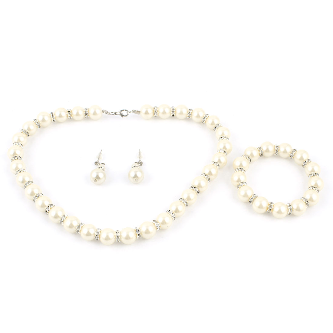 3 in 1 Wedding 12mm Dia Ivory Color Imitation Pearls Necklace Clip Earrings Jewelry Set