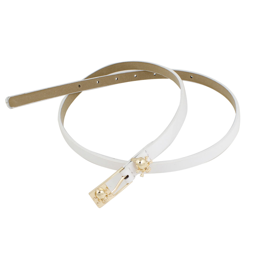Ladies Skull Accent Single Pin Buckle Skinny Waist Belt Waistband White