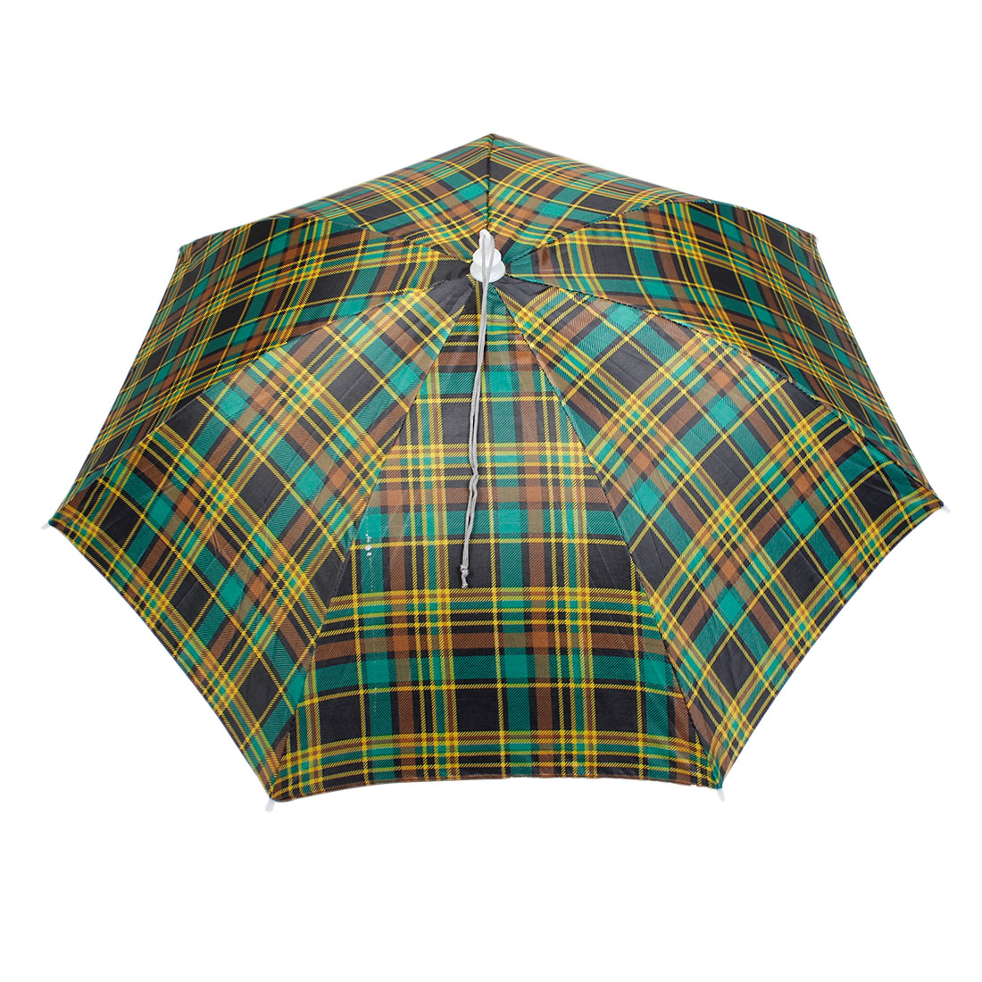 "18.9"" Length Colorful Plaids Pattern Sunshade Umbrella Hat for Fishing Camping"