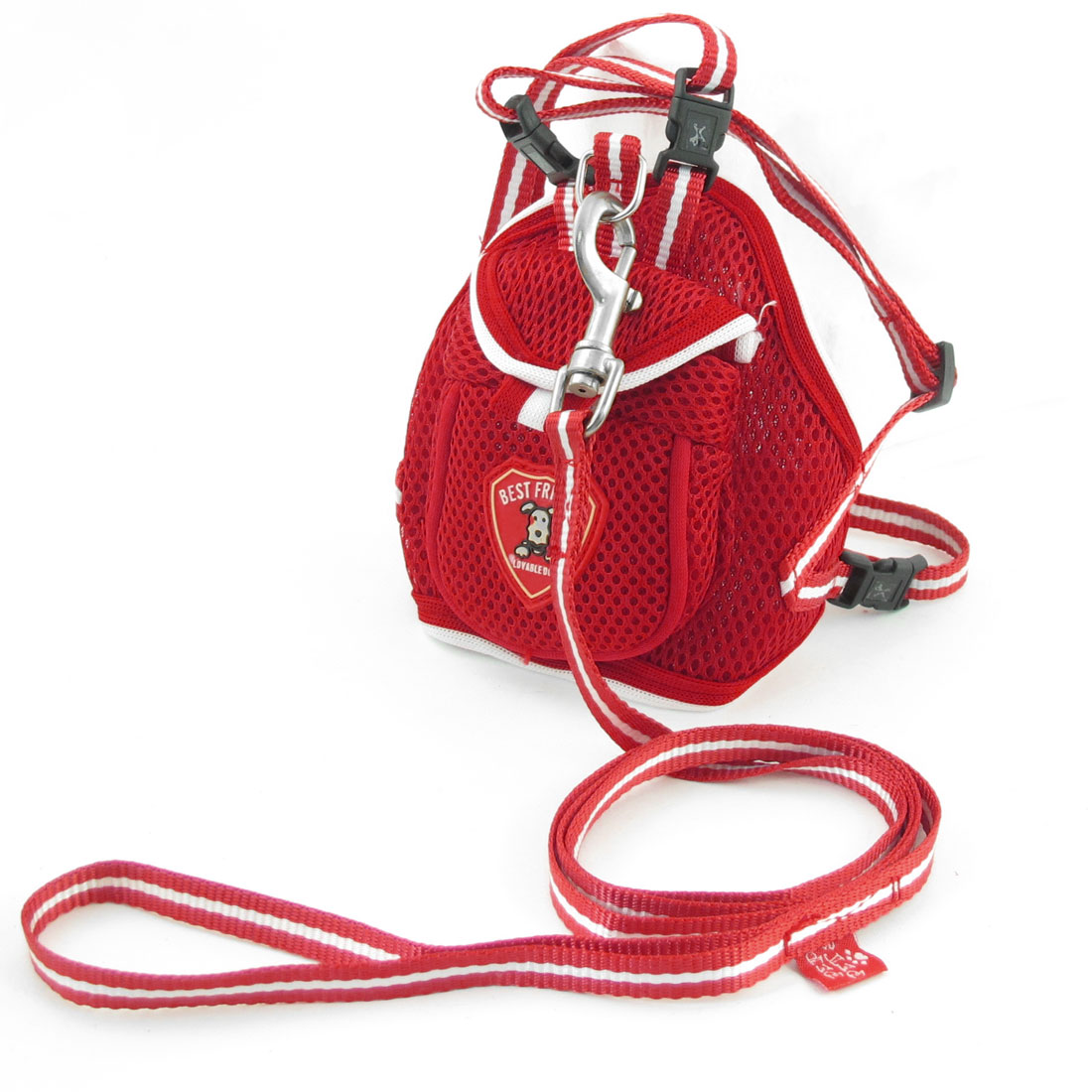 Red Single Pocket Mesh Pet Puppy Dog Backpack Harness w Leash XS