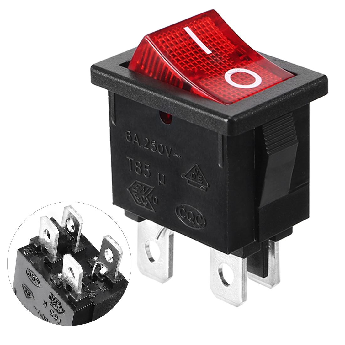 4P DPST On/Off Rocker Switch AC 250V/6A 125V/10A UL Listed