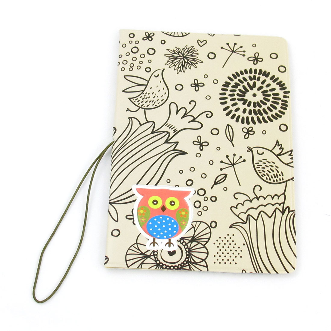 Off White Black Owl Flowers Pattern Faux Leather Passport Holder Cover