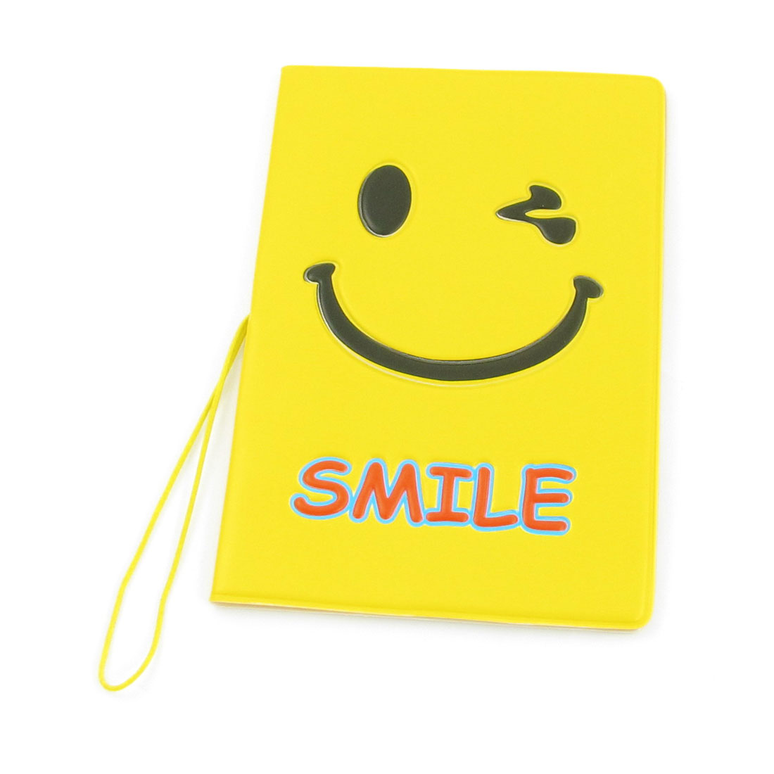 Faux Leather Smiley Pattern Wallet Case Holder Protector Yellow for Passport