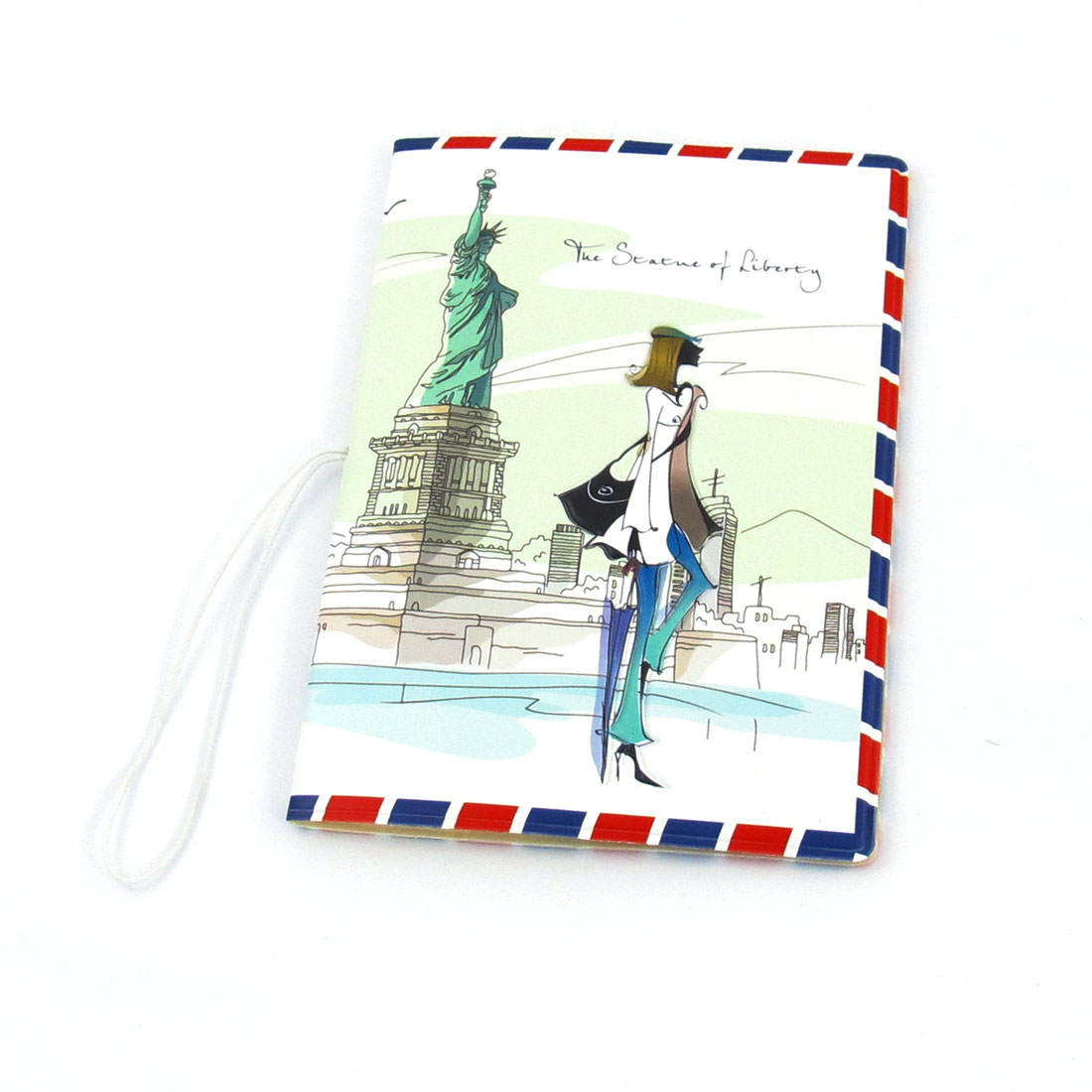 Women Travel Faux Leather Statue of Liberty Prints Passport Holder Cover White