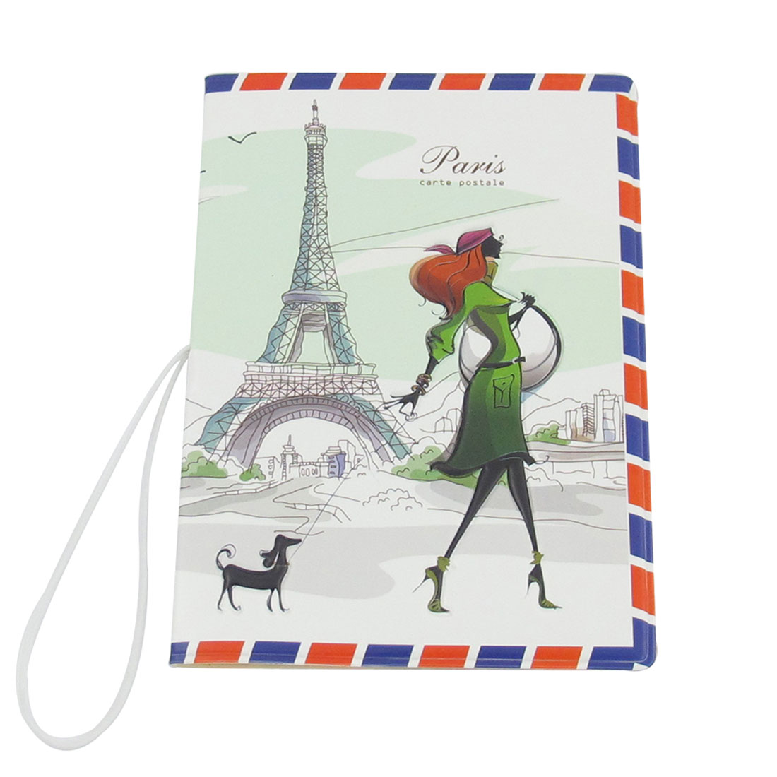 Faux Leather Eiffel Tower Prints Passport Case Cover Holder Protector White