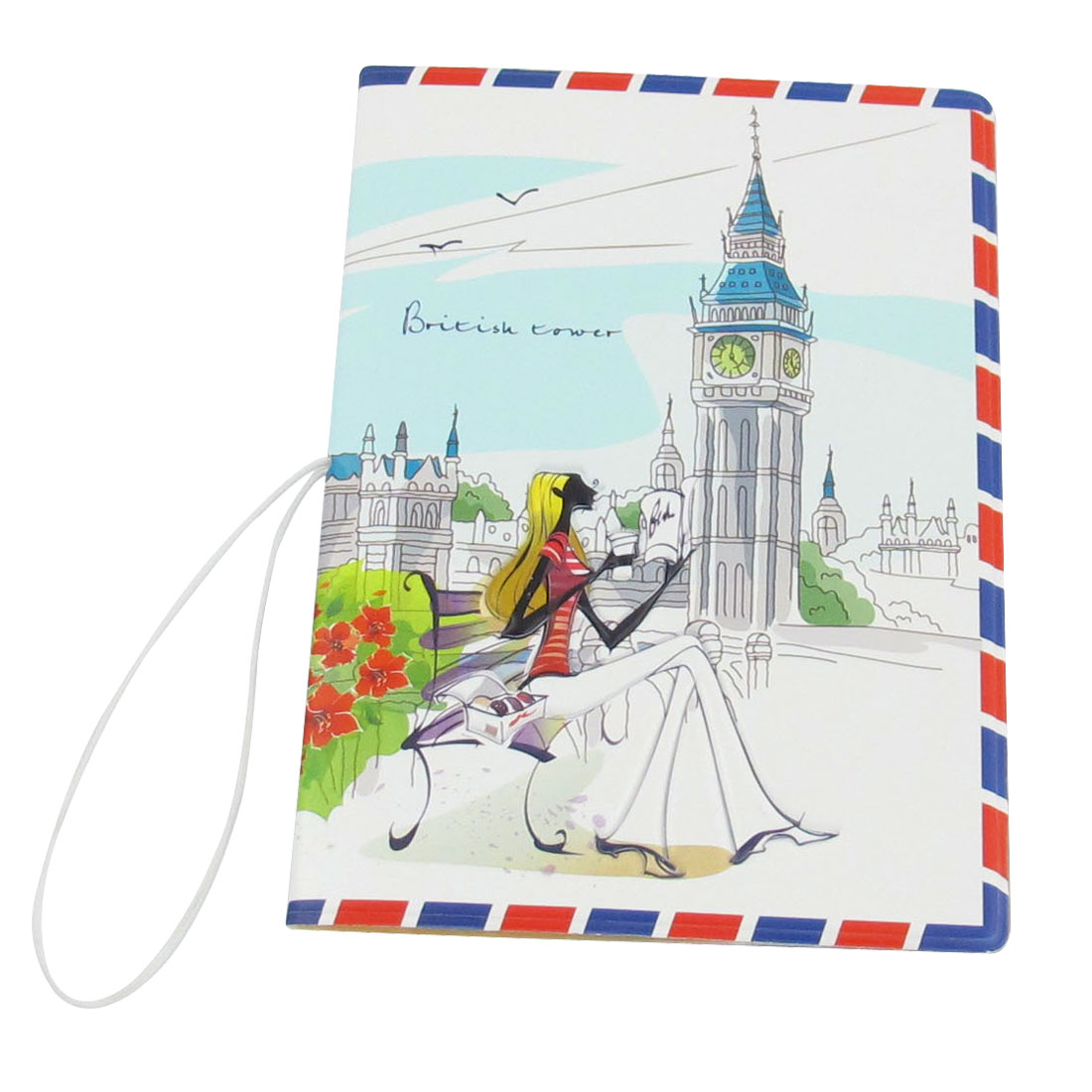 White Big Ben Pattern Faux Leather Passport Holder Protector Cover Case Organizer