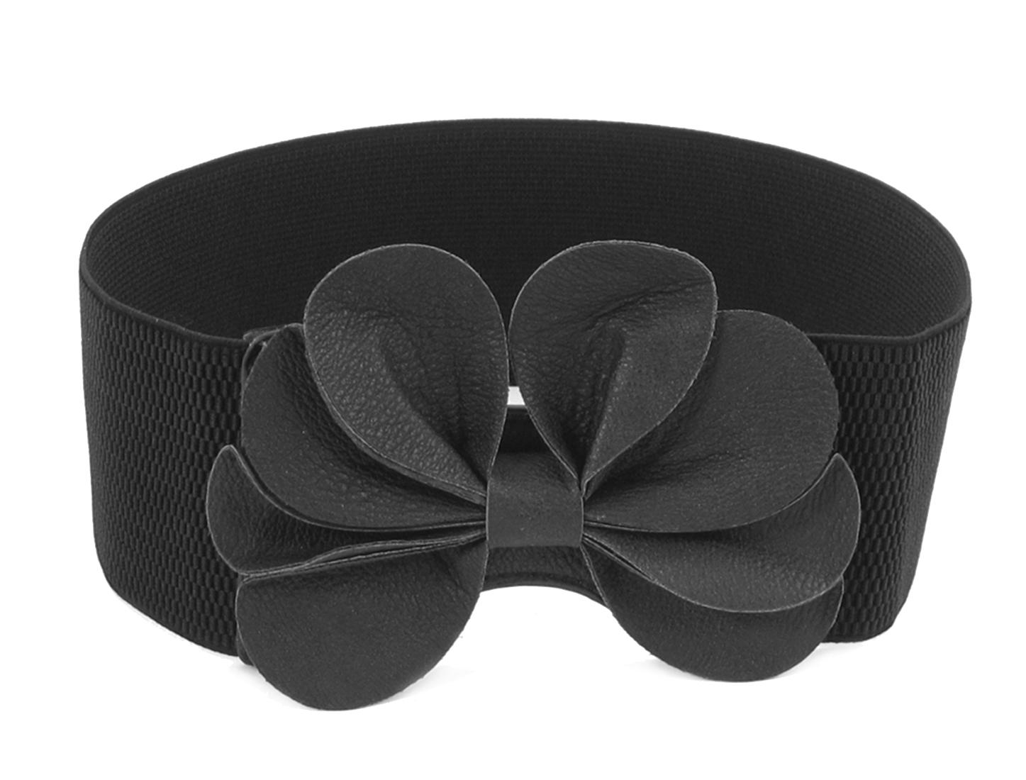 Lady Black Faux Leather Flower Bowknot Decor Buckle Elastic Waist Belt