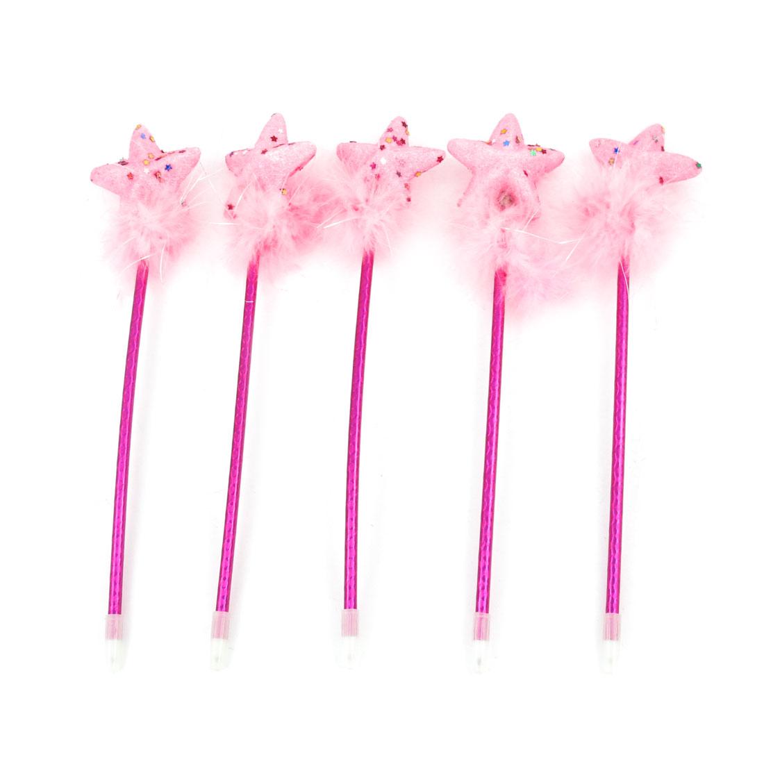 Pink Pentagram Soft Feather Decor Handgrip Blue Ink Ball Pen 5 pcs