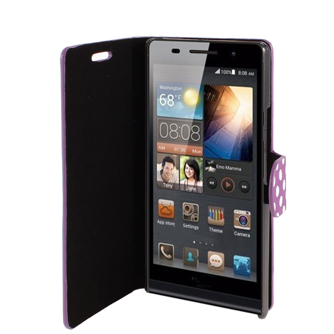 Purple Faux Leather Round Print Flip Stand Pouch Case Cover for Huawei Ascend P6