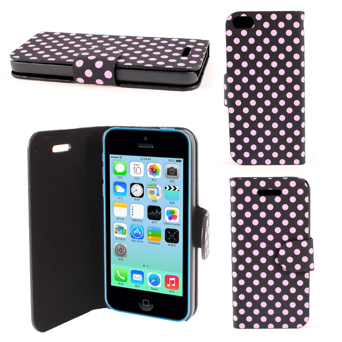 Black Pink Faux Leather Round Print Magnetic Flip Stand Pouch Case for iPhone 5C