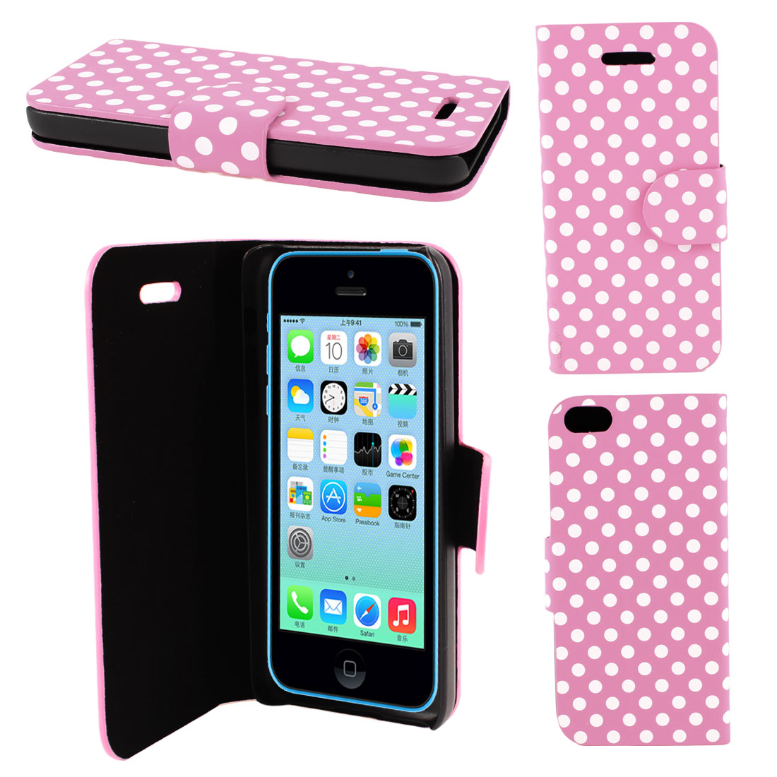 Pink Faux Leather Round Pattern Magnetic Flip Stand Pouch Case for iPhone 5C