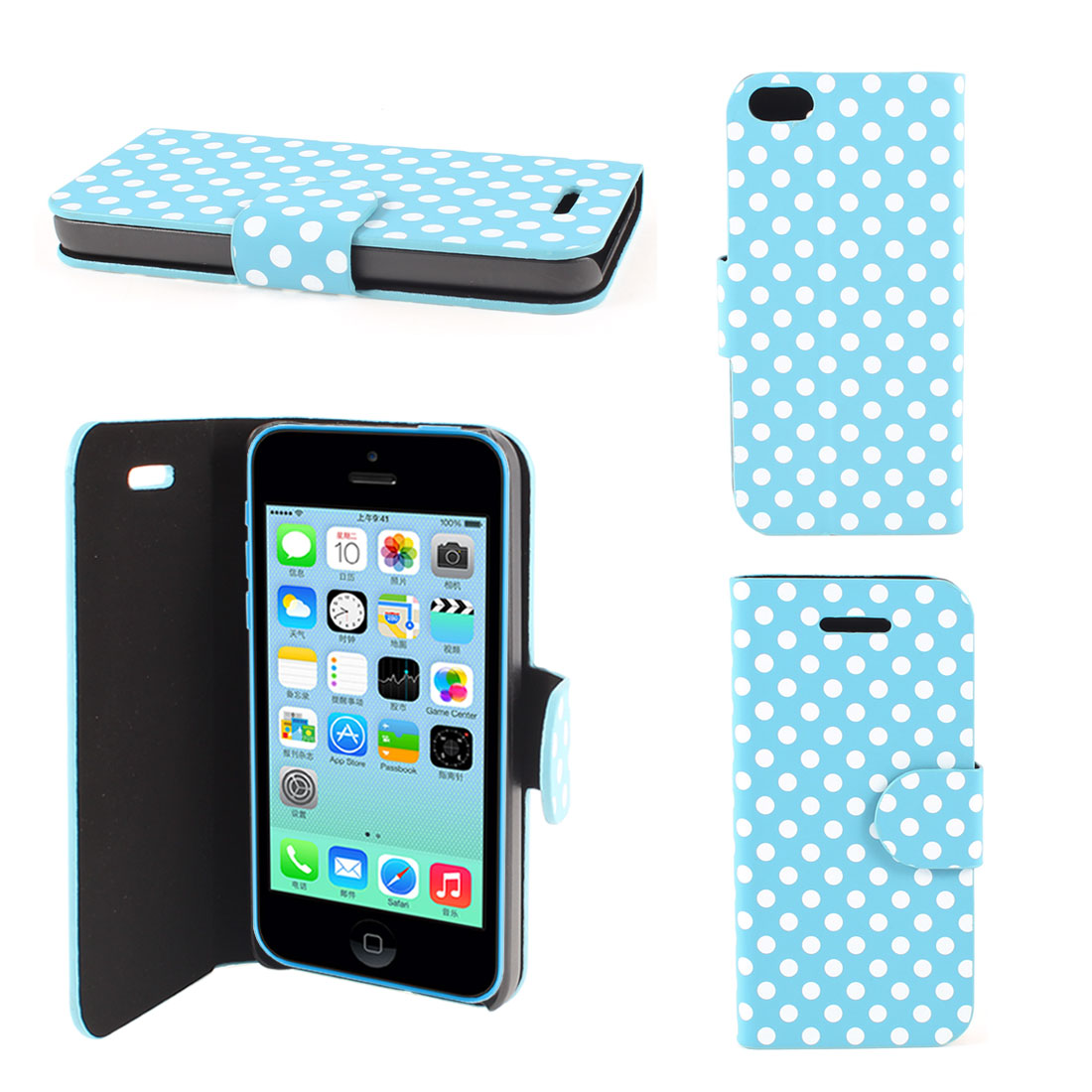 Blue Faux Leather Round Print Magnetic Flip Stand Pouch Case for iPhone 5C