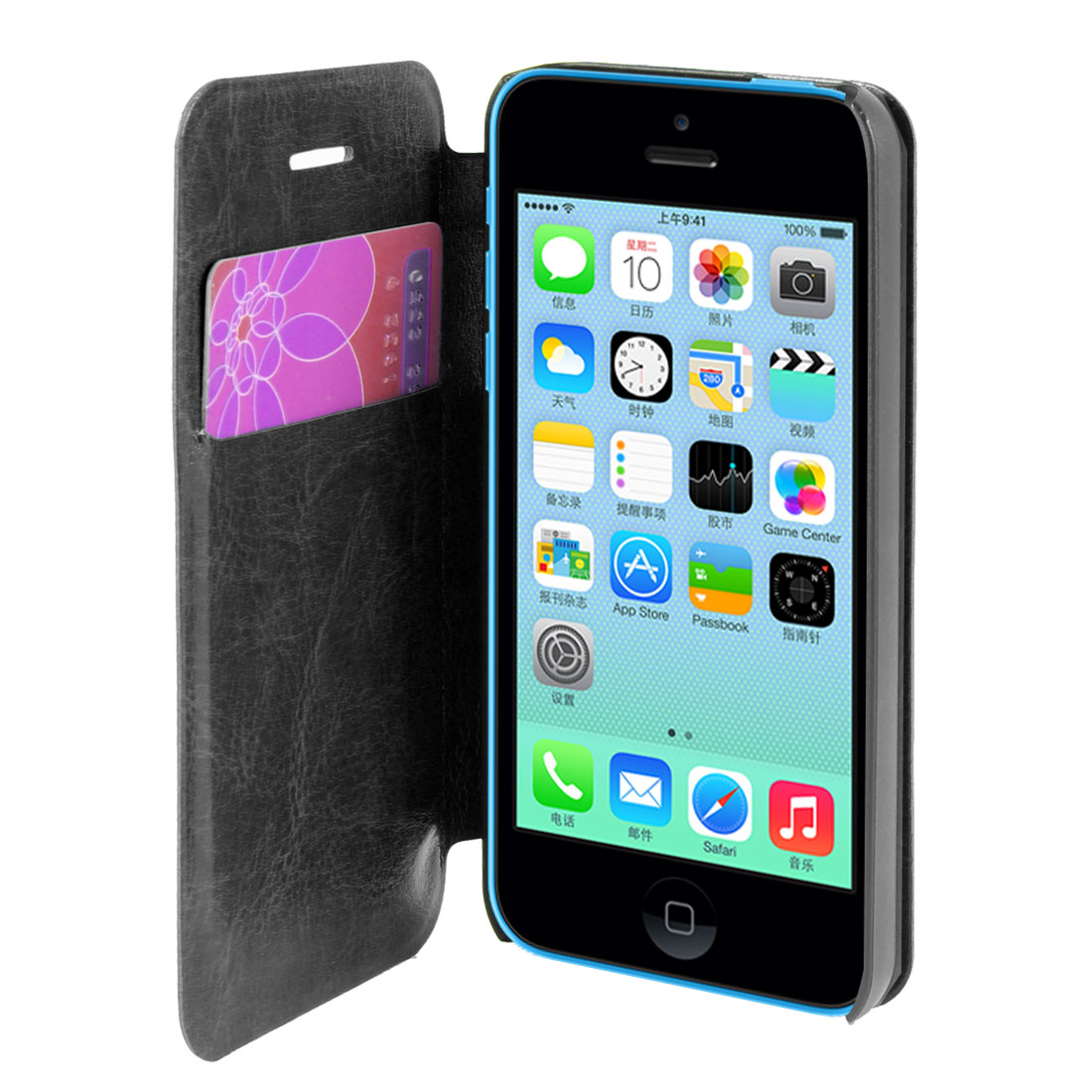 Black Faux Leather Flip Stand Pouch Case Cover for Apple iPhone 5C