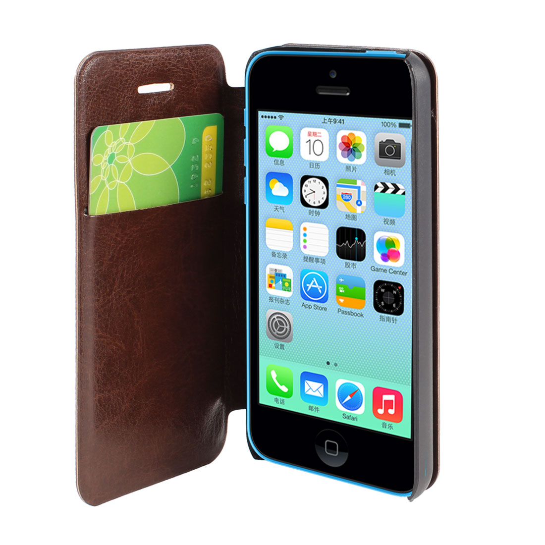 Brown Faux Leather Flip Stand Pouch Case Cover for Apple iPhone 5C
