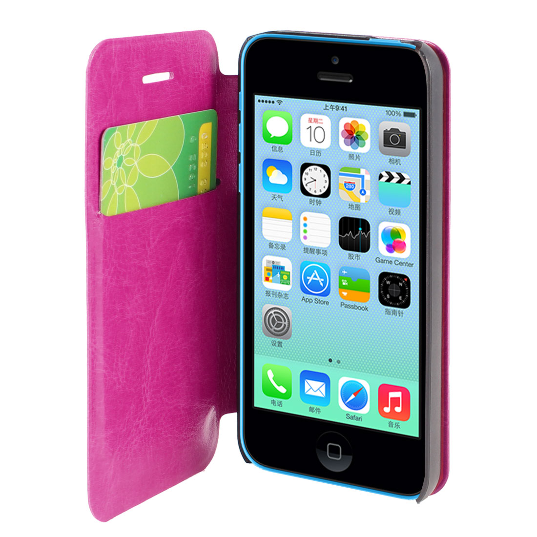 Fuchsia Faux Leather Flip Stand Pouch Case Cover for Apple iPhone 5C