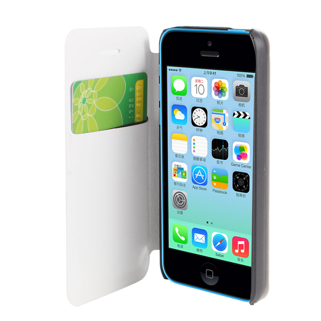 White Faux Leather Flip Stand Pouch Case Cover for Apple iPhone 5C