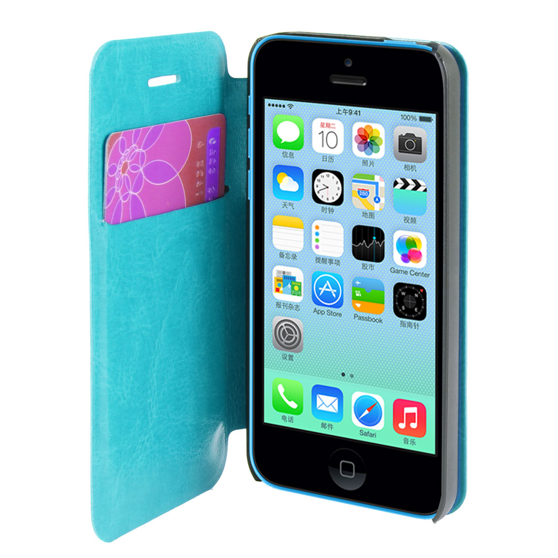 Cyan Faux Leather Flip Stand Pouch Case Cover for Apple iPhone 5C