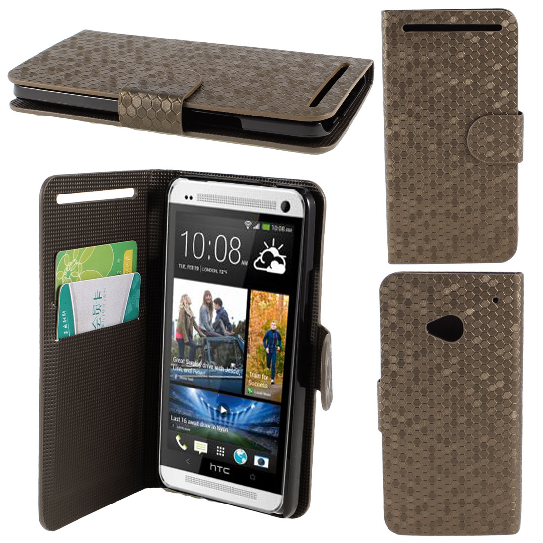 Brown Faux Leather Hexagon Pattern Flip Stand Pouch Case Cover for HTC One M7