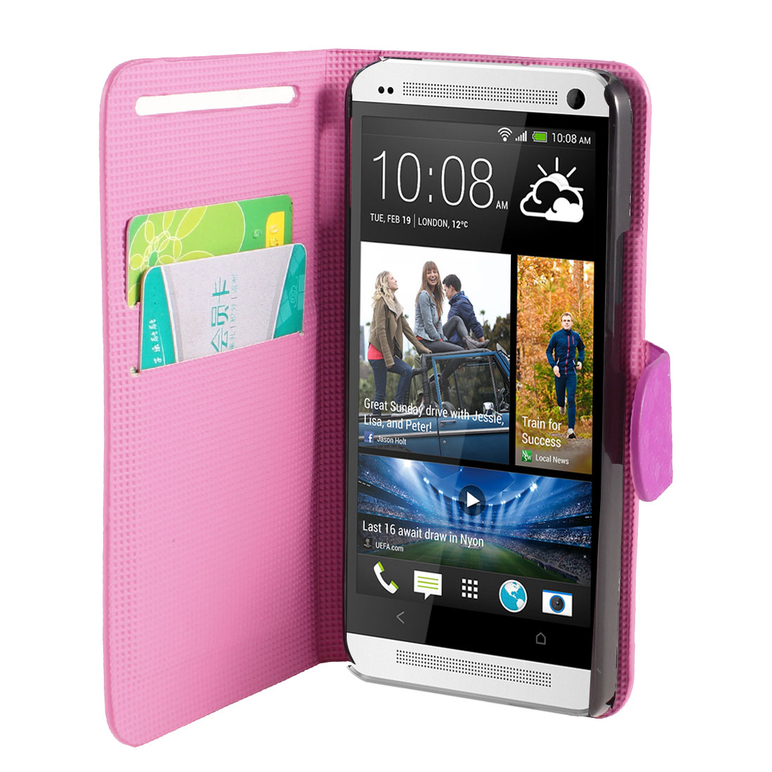 Fuchsia Faux Leather Hexagon Pattern Flip Stand Pouch Case Cover for HTC One M7