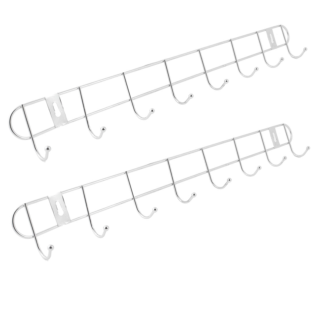 Kitchen Bathroom Stainless Steel Wall Hook Rack Hanger 2pcs for Clothes Towel