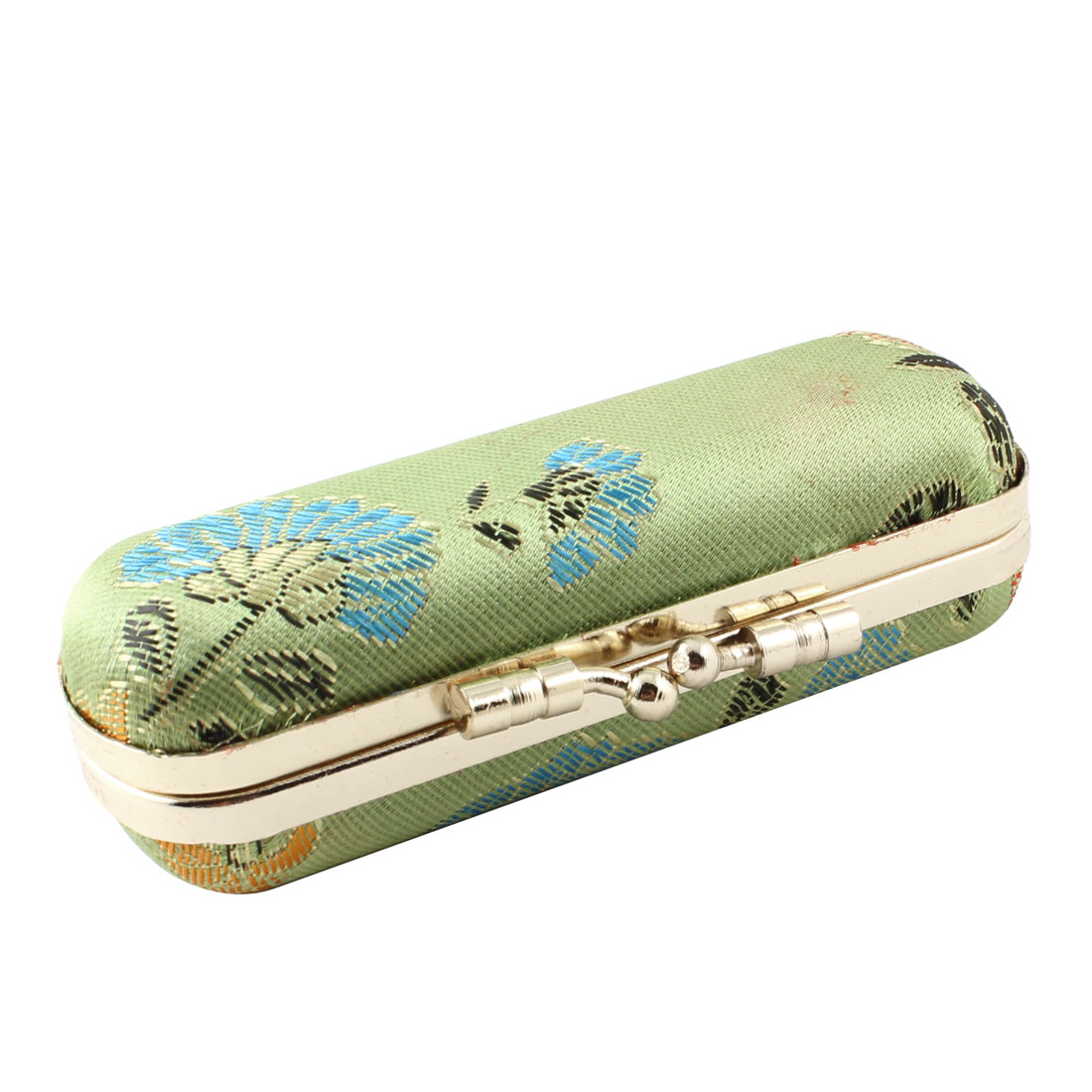 Light Green Floral Embroidered Kiss Lock Clasp Lipstick Case Box Holder
